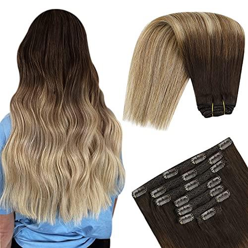 YoungSee Clips Cheveux Extension Naturel Humain Brun Foncé Ombre Brun Moyen avec Blond Balayage #2/6/24 Tête Pleine 7pcs/120g 40cm Extension Clip Natu
