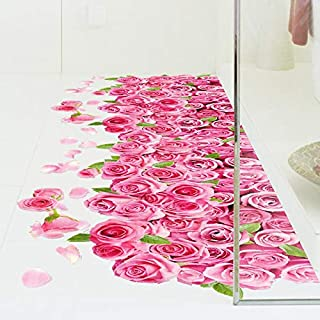 Pink roses 3 d romantic women sitting room bedroom bathroom store posted to the window wall paper adhesive