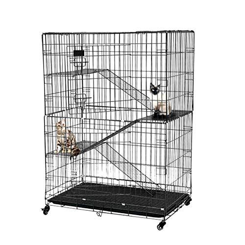 QAVILFLY Jaula plegable para gatos, jaula de alambre para mascotas, gatos, parque de juegos, escalera resistente, 1 unidad