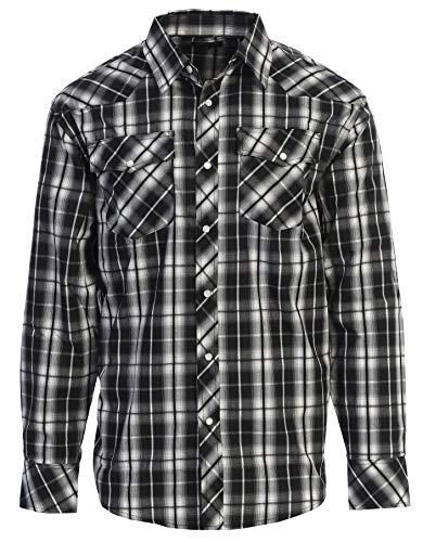 Studio 10 Mens Casual Western Plaid Checked Pearl Snap Long Sleeve Shirt, Black/White, Medium
