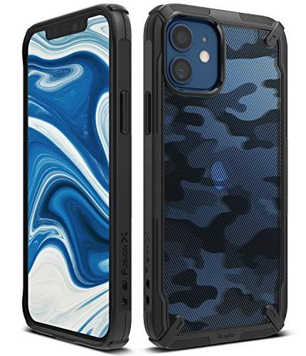 Ringke Fusion-X Compatible con Funda iPhone 12 Mini (2020) 5,4 Pulgadas, Militar Rigida Carcasa Parachoque TPU Funda Negra - Camo Black (Camuflaje)