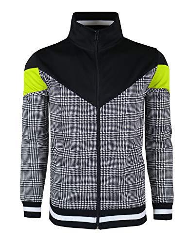 SCREENSHOTBRAND-F11957 Mens Urban Hip Hop Premium Track Jacket - Slim Fit Side Taping Urbanwear Fashion Top-Black/Neon-2XLarge