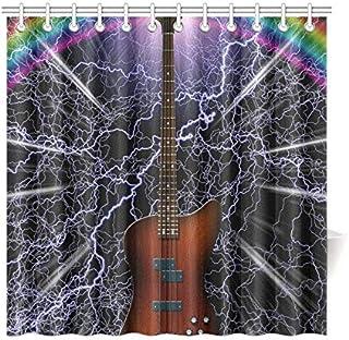 HASHA シャワーカーテン 浴室カーテン バスカーテン 風呂 防水 防カビ 180x180cm C形カーテンリング付属 楽器 ギター
