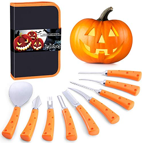 Pumpkin Carving Kit for Adults & Kids, Halloween Jack-O-Lanterns 9 Pieces Professional Pumpkin Carving Tools Kit, Stainless Steel Carving Knife Set with Anti-Slip Handle & Carrying Case