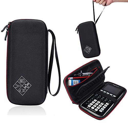 Hard Protective Carry Case for Texas Instruments TI-83 Plus Texas Instruments TI-84 Plus CE Graphing Calculator (Black+Red)