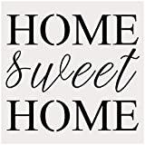 Home Sweet Home Alphabet Large Letter Stencil for Painting on Wood, Canvas, Walls, Floors, Fabrics and Furniture, Paint Wooden Signs, DIY Home Decor, Reusable Plastic Stencil(10' x 10')
