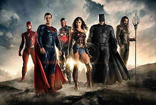 PUZZLEQI Cartel de la Liga de Justicia de Madera Rompecabezas 300/500/1000 Pieza héroe de la película Superman Puzzles de educación de Adultos Muchacho de los niños Amigas Regalo de la decoración