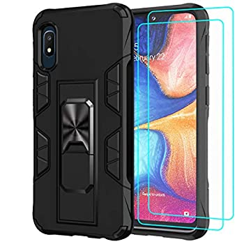 Mieziba Compatible with Galaxy A10E Case with Tempered Glass Screen Protector [2 Pack] [ Military Grade ] 15ft Drop Tested Protective Case [Kickstand] Compatible with Samsung Galaxy A10E,Black
