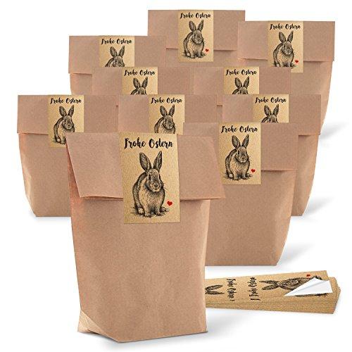 10 kleine braune Papiertüten Ostertüten Osternest 14 x 22 x 5,6 cm + 10 Osteraufkleber 5 x 15 cm vintage Hase Osterhase Ostern Herz rot Verpackung Geschenke Aufkleber Kraftpapier give-away