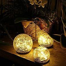 "Jinniee Solar Powered LED Garden Light Cracked Glass Globe Ball Outdoor Lamp for Lawn Patio Garden Yard (Diameter : 3.94"", Led Globe 2Pack)"