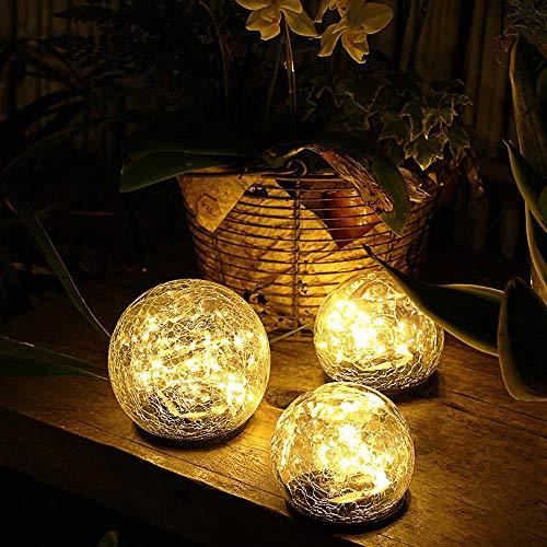 "Jinniee Solar Powered LED Garden Light Cracked Glass Globe Ball Outdoor Lamp for Lawn Patio Garden Yard (Diameter : 3.94"", Led Globe)"