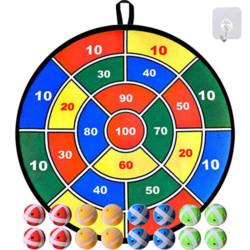 Dart Board Game for Kids, Large 29.5 inches Fabric Dart Board with 16 Sticky Balls, Darts Board Set with Hook, Safe Christmas Toy Gift for Boys Girls Children