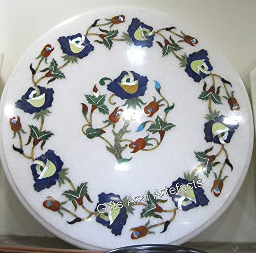Gifts And Artefacts Table d'appoint en marbre Blanc avec Pierres Semi-précieuses Art Floral pour Ajouter Un Look Royal à Votre Salon, 38 cm