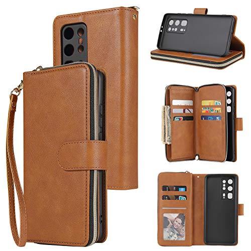 nancencen Handyhülle Kompatibel mit Huawei P40 Pro Plus, Lederhülle Flip Cover Brieftasche Hülle Kreditkartenschlitz (9 Karten) für Huawei P40 Pro Plus Schutzhülle -Braun