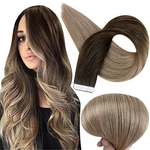 Fshine Tape In Hair Extensions 14 Inch Real Hair Extensions Balayage Color 2 Fading To 6 Chestnut Brown And 18 Ash Blonde Skin Weft Tape In Hair Extensions 50 Grams 20 Pcs Full Head