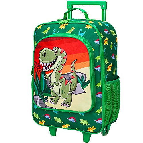 Kids Suitcase, Rolling Luggage with Wheels for Boys - Dinosaur