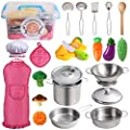 Juboury Kitchen Pretend Play Toys with Stainless Steel Cookware Pots and Pans Set, Cooking Utensils, Apron & Chef Hat, Cutting Vegetables for Kids, Girls, Boys, Toddlers by SHLDEAL