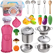 Juboury Kitchen Pretend Play Toys with Stainless Steel Cookware Pots and Pans Set, Cooking Utensils, Apron & Chef Hat, Cutting Vegetables for Kids, Girls, Boys, Toddlers