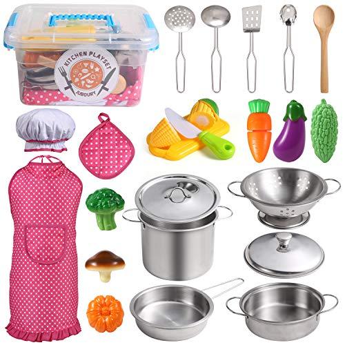 EFO SHM Cucina Giocattolo per Bambini, Accessori Cucina con Set di Pentole e Padelle in Acciaio Inossidabile, Utensili da Cucina, Grembiule e Cappello da Cuoco, Taglio di Cibo per Bambini