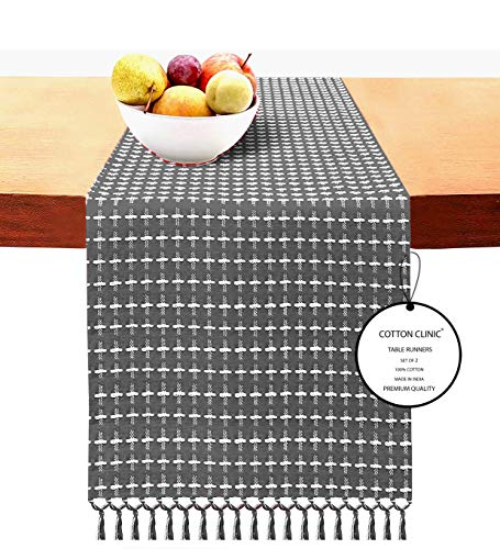 Cotton Clinic 2 Pack Table Runners Farmhouse 108 Inches Classic Woven Dobby, 14x108 Wedding Cotton Table Runners Fringes, Rustic Bridal Shower Decor Dining Table Runners Gray White
