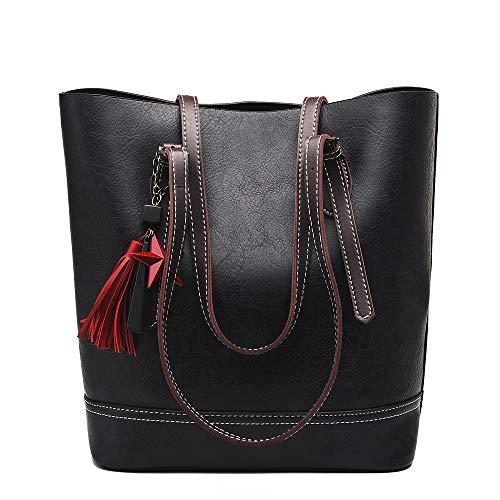 COCIFER Women Top Handle Satchel Handbags Shoulder Bag Tote Purse Messenger Bags (Black)