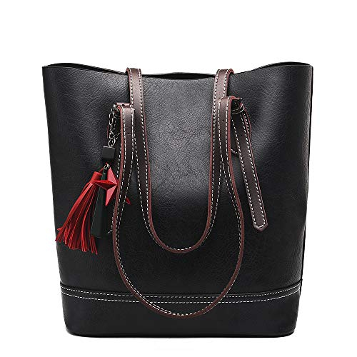 COCIFER Women Top Handle Satchel Handbags Shoulder Bag Tote Purse Messenger Bags (Black)