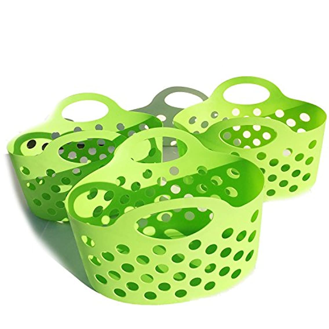 Plastic Basket For Shelves Bathroom Caddy Flexible Oval Baskets Classroom Storage Organizing with Handles Small Toys Kitchen Fruit Holder Green Lightweight School Home Shelf Organizer Set of 3 Pack