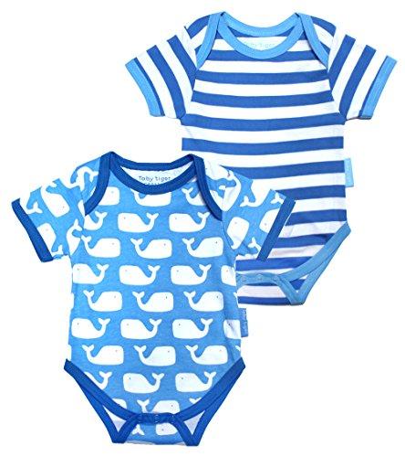 Toby Tiger Whale Baby Tshirt Pack T-Shirt, Bleu (Blue/White), Mois (Taille Fabricant: 6-12 Months) (Lot de 2) Mixte bébé