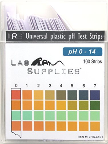 Plastic pH Test Strips, Universal Application (pH 0-14), 100 Strips | Saliva | Soap | Urine | Food | Liquids | Water with Soil Testing | Lab Monitoring