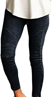 Womens Casual Stretchy Moto Skinny Ankle Zipper Pleated Legging Pants, Black, US Large