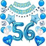 56. Globos azules para decoración de cumpleaños de 56 años, guirnalda de cumpleaños con número 56, globos gigantes, globos de estrella y corazón, globos de confeti, decoración para colgar