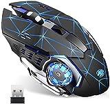 TENMOS Ratón inalámbrico recargable para juegos, 2,4 G, USB, LED, silencioso, automático, mango ergonómico, 3 DPI ajustable para Mac, PC, ordenador portátil, ordenador (Starry negro).