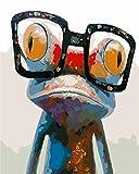 Fuumuui Lienzo de Bricolaje Regalo de Pintura al óleo para Adultos niños Pintura por número Kits Decoraciones para el hogar -Frog 16 * 20 Pulgadas