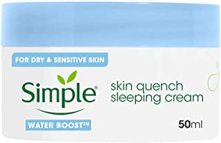 Simple Water Boost Sleeping Night Face Cream, Restore Hydration, Moisturizer, Non-oily feel, For Dehydrated, Dry or Sensit...
