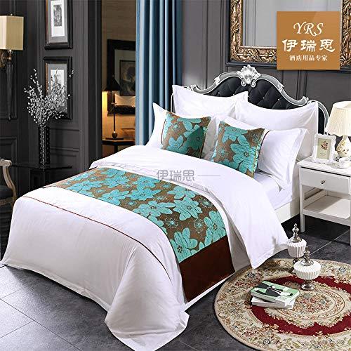 YYSWIM Chemin de Lit Drapeau de Lit Étoile de Style européen, Drapeaux de lit et Petit-déjeuner, de Bout de lit, de lit en Lin de Coton, thème, Fleur de Lotus Bleu, 1, 5 M lit 50 x 210CM