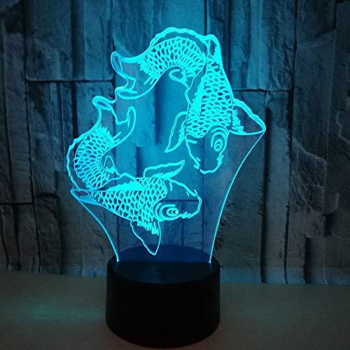 3D Illusion Lampen Schwimmender Fisch 7 Farben Led Nachtlicht Touch-Schalter USB Einsatz Tischlampe Kinder Nachttischlampe Weihnachtsgeschenk Geburtstagsgeschenk