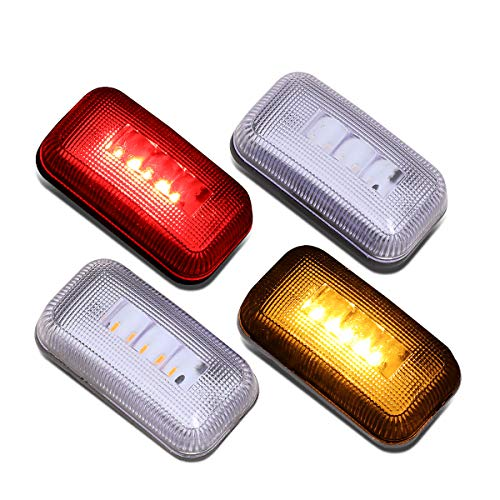 DNA MOTORING FENDL-CS15-CH 4Pcs Clear Lens Dually Fender LED Side Marker Light Lamps
