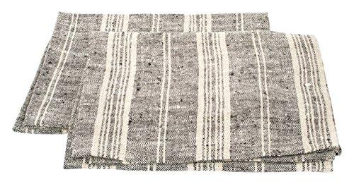 LinenMe Un Set di Due Asciugamani in Lino Blu/Naturale Multistrisce, 46 x 65 cm
