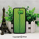 Wavy Striped Texture of a Green Leaf Macro Close Up Graphic Fresh Plant Decorative Samsung Galaxy S7 Case With Artistic Black Soft TPU and PC Protection Anti-Slippery Case For Samsung S7 Lime Green Ap
