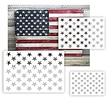 American Flag 50 Star Stencil Template for Painting on Wood Fabric Paper Airbrush Glass and Wall Art Reusable Starfield Stencil 6 Pack 3 Sizes