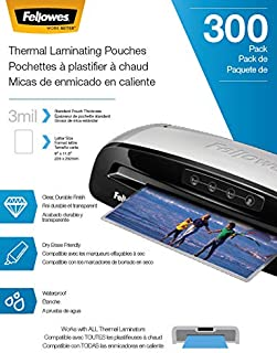 Fellowes Thermal Laminating Pouches, Letter Size, 3mil, 300 Pack