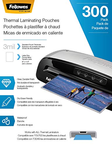 Fellowes Thermal Laminating Pouches Letter Size Sheets 3mil 300 Pack