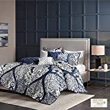 Madison Park Vienna Duvet Cover King/Cal King Size - Indigo Blue, Damask Duvet Cover Set – 6 Piece – Cotton Light Weight Bed Comforter Covers