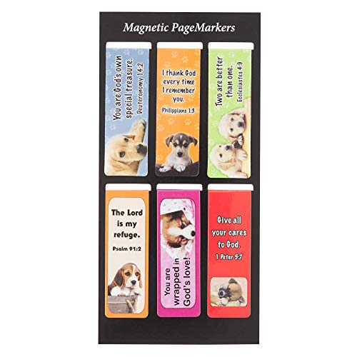 Christian Art Gifts Set of 6 Puppy Faces (Style #1) Magnetic Bible Verse Bookmark with Scripture and Inspiration, Size Small 2.3' x .75'