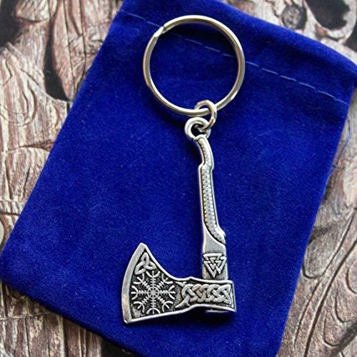 SWORLDesigns Wikinger Axt Rune Doppelseitig Schlüsselanhänger mit Geschenkbeutel