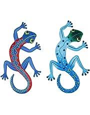Decoración De La Pared Gecko Lagarto Gecko Colgantes De Metal Jardín 3d Ornamento Del Arte Del Arte Para El Hogar Terraza Valla 2 Piezas De Adornos De Jardín Al Aire Libre
