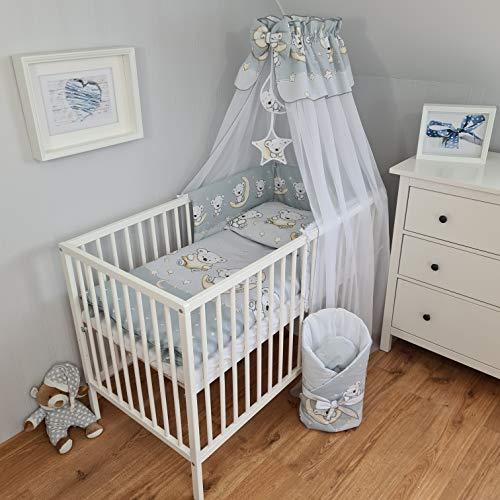 Juego de ropa de cama para bebé de 11 piezas, ropa de cama con dosel, para bebés y niños pequeños, nido para bebé, ropa de cama de bebé (oso de peluche, 70 x 140)