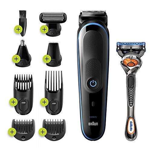 Braun MGK5280 Tondeuse 9-En-1 - Tondeuse à cheveux et barbe, Tondeuse Corps Noir/Bleu