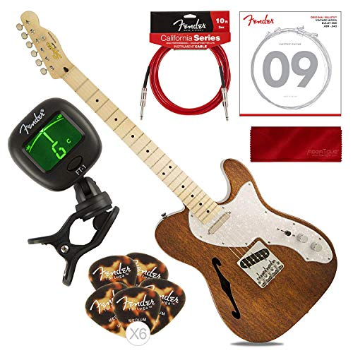 Fender Squier Classic Vibe Telecaster Custom Beginner Electric Guitar, Natural with Tuner, Strings, Picks, Cable & Cloth Basic Bundle