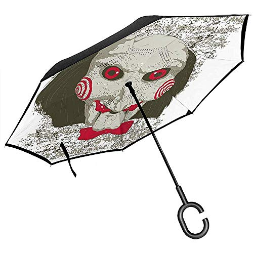 Decoupeerzaag Clown Head Inverted Umbrella voor Auto Reverse Folding Upside Down C-vormige handen licht winddicht